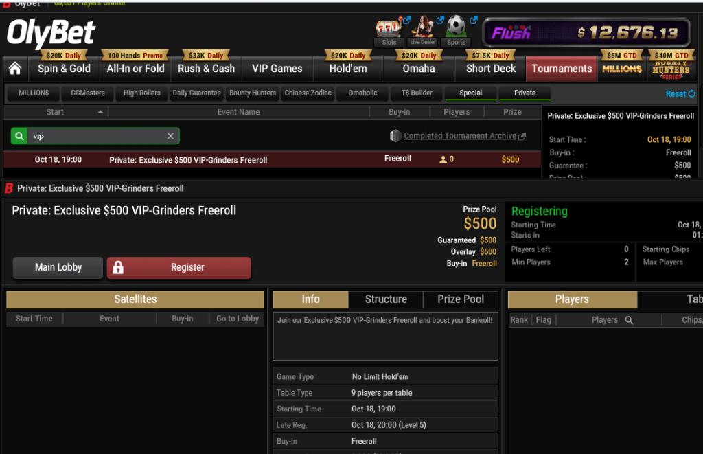 OlyBet 500 Poker Freeroll1
